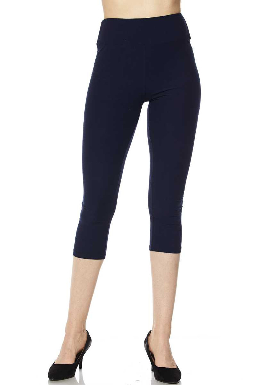 Front view of navy Buttery Soft Basic Solid High Waisted Extra Plus Size Capris - 3 Inch - 3X-5X  - New Mix