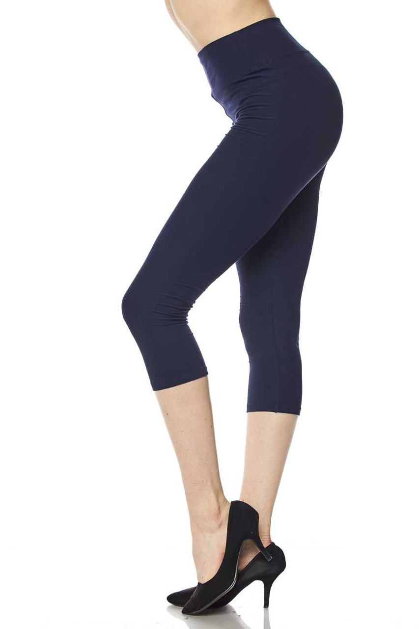 Left side view of navy Buttery Soft Basic Solid High Waisted Extra Plus Size Capris - 3 Inch - 3X-5X  - New Mix