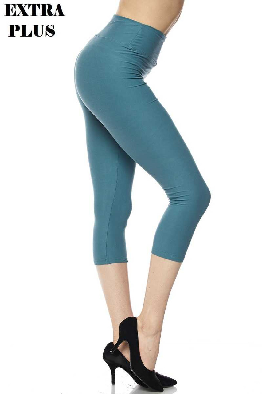 Right side view of Buttery Soft Basic Solid High Waisted Extra Plus Size Capris - 3 Inch - 3X-5X  - New Mix