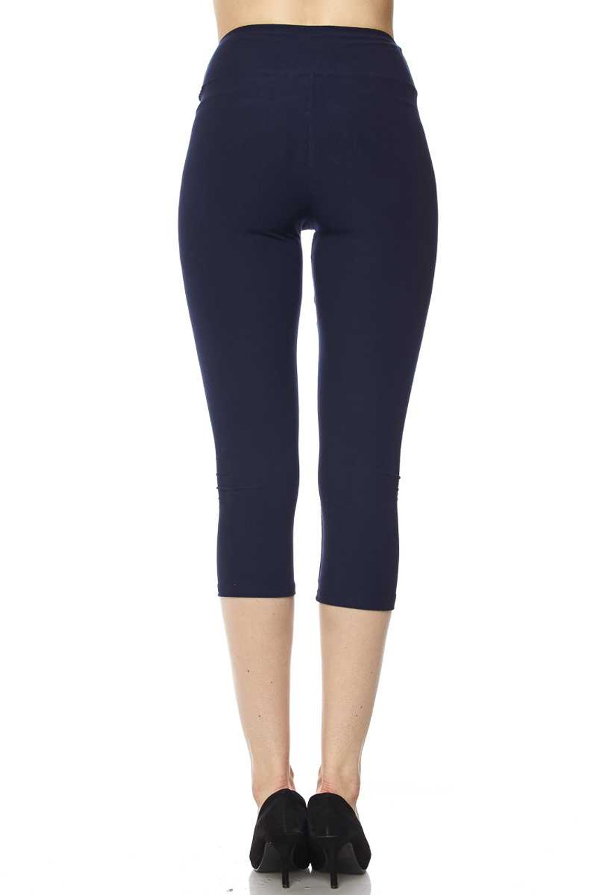 Back view of navy Buttery Soft Basic Solid High Waisted Extra Plus Size Capris - 3 Inch - 3X-5X  - New Mix