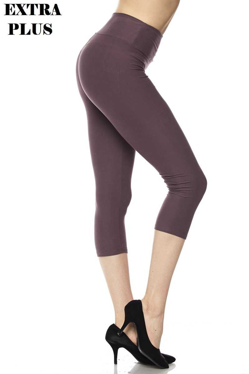Right view of dusty plum Buttery Soft Basic Solid High Waisted Extra Plus Size Capris - 3 Inch - 3X-5X  - New Mix