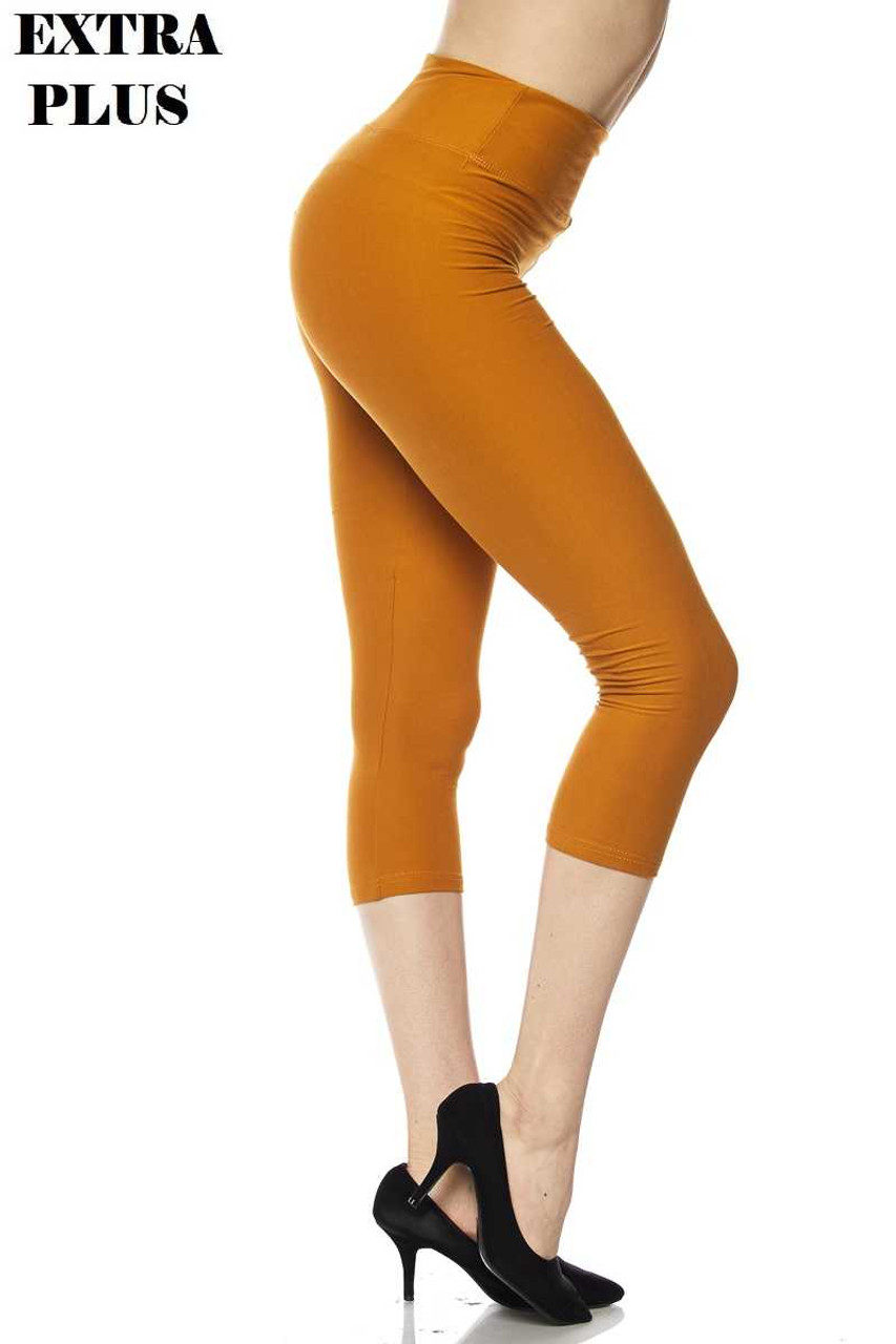 Right view of mustard Buttery Soft Basic Solid High Waisted Extra Plus Size Capris - 3 Inch - 3X-5X  - New Mix