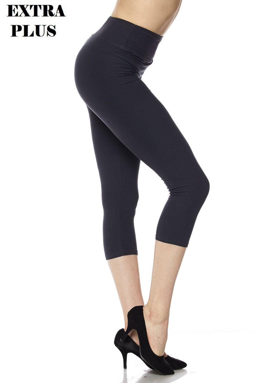 Right view of charcoal Buttery Soft Basic Solid High Waisted Extra Plus Size Capris - 3 Inch - 3X-5X  - New Mix