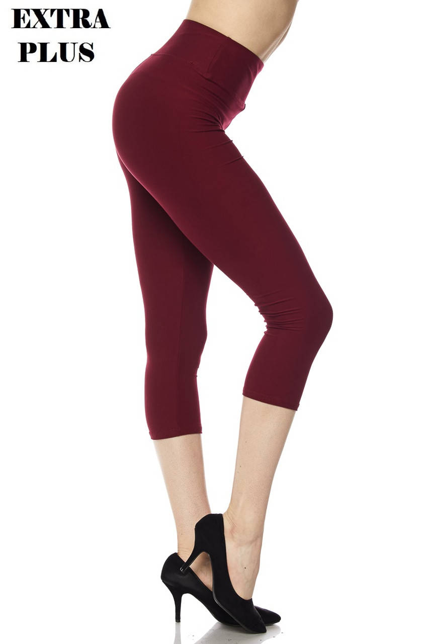 Right view of burgundy Buttery Soft Basic Solid High Waisted Extra Plus Size Capris - 3 Inch - 3X-5X  - New Mix