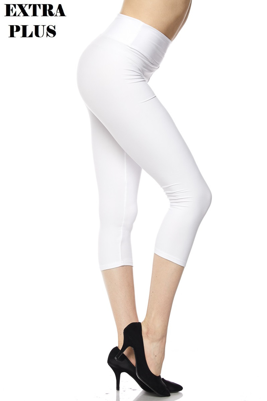 Right view of white Buttery Soft Basic Solid High Waisted Extra Plus Size Capris - 3 Inch - 3X-5X  - New Mix