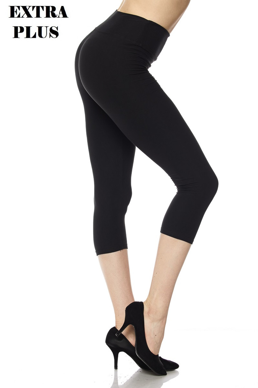 Right view of black Buttery Soft High Waisted Plus Size Basic Solid Capris - 3 Inch - 3X-5X