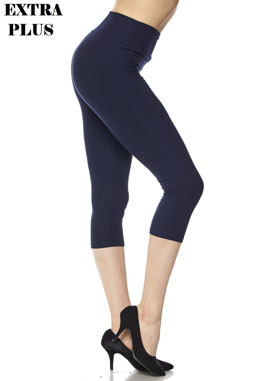Right view of navy Buttery Soft High Waisted Plus Size Basic Solid Capris - 3 Inch - 3X-5X