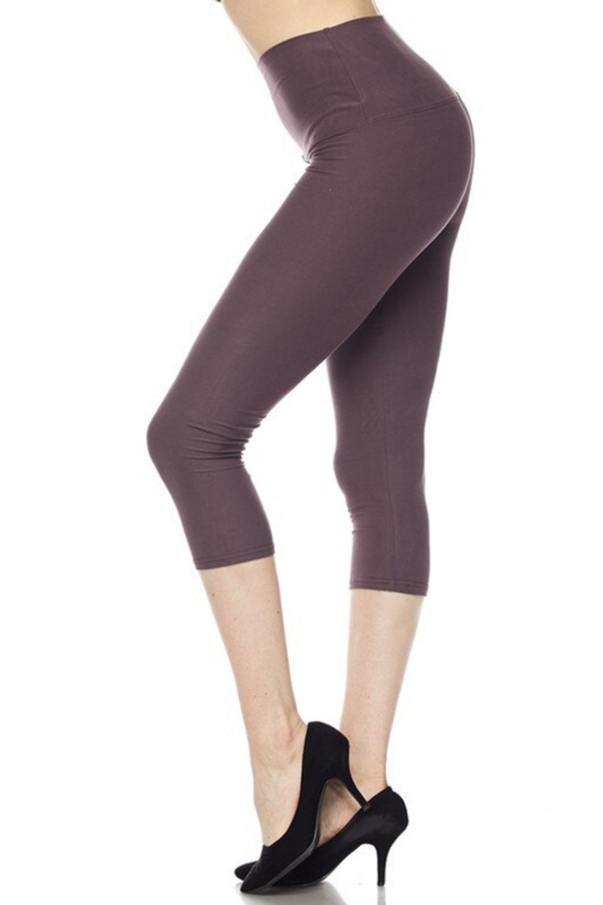 Left side view of charcoal Buttery Soft Basic Solid High Waisted Capris - 5 Inch - New Mix