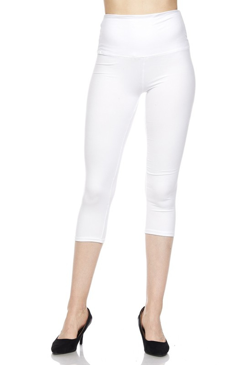 Front view of white Buttery Soft Basic Solid High Waisted Capris - 5 Inch - New Mix