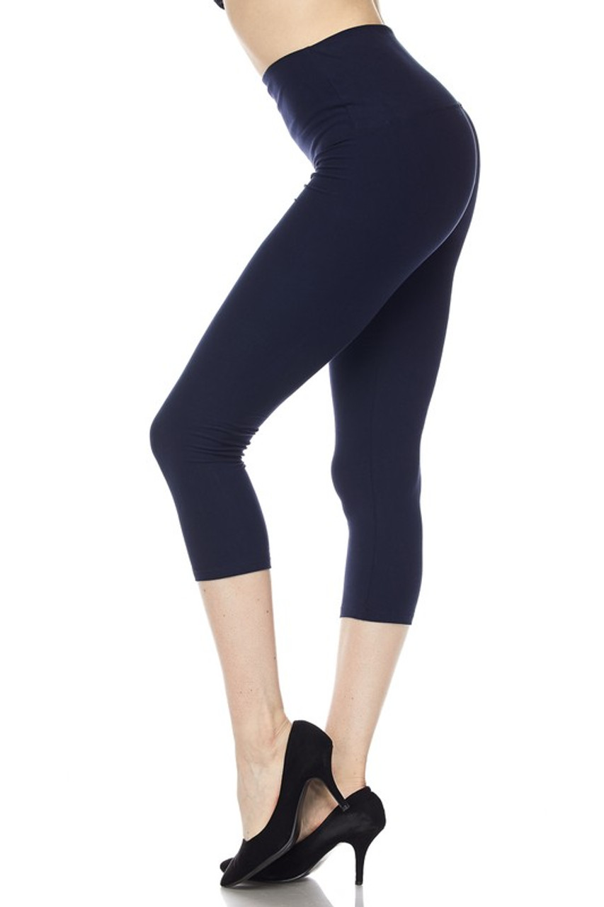 Left side view of navy Buttery Soft Basic Solid High Waisted Capris - 5 Inch - New Mix