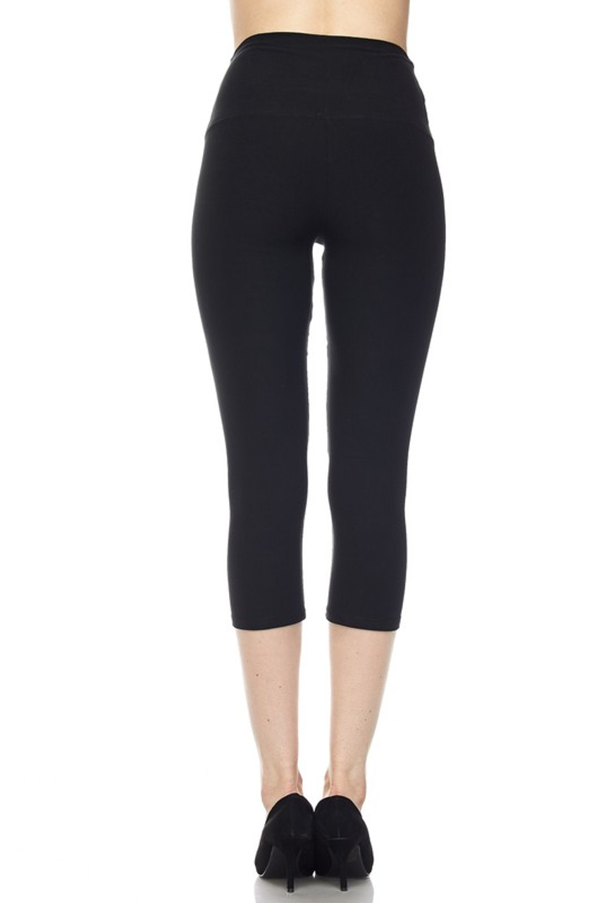 Back view of black Buttery Soft Basic Solid High Waisted Capris - 5 Inch - New Mix