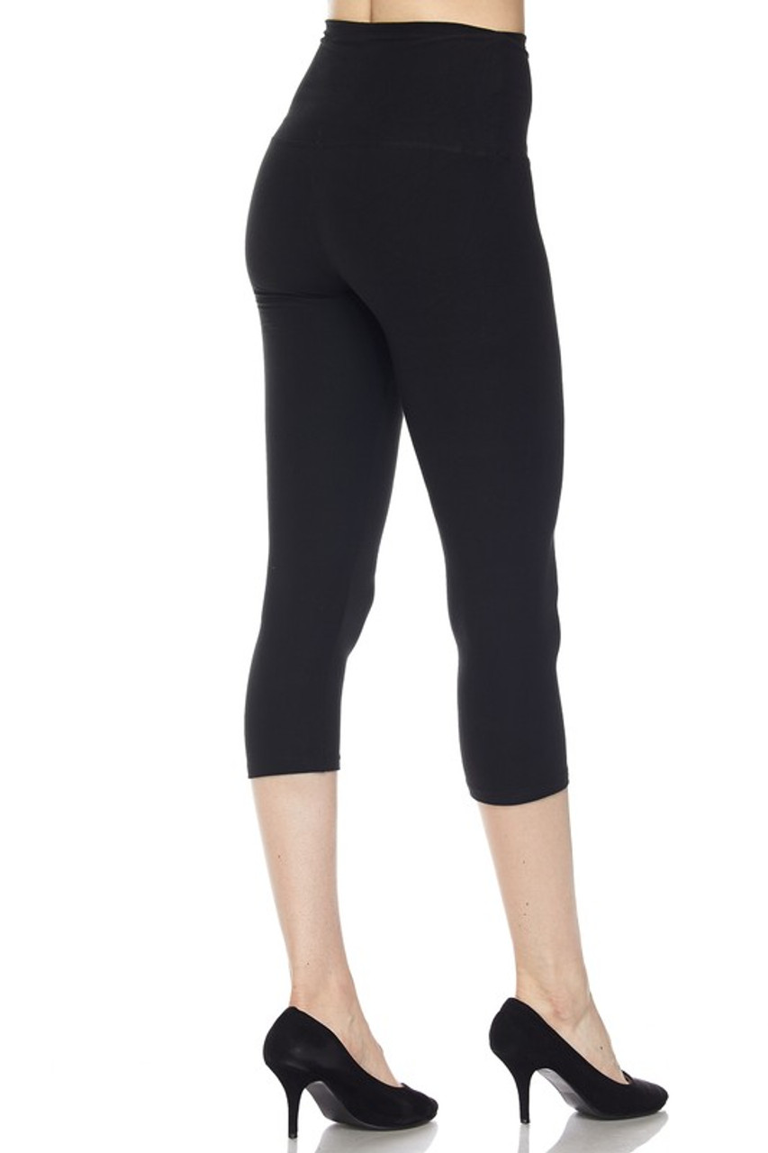 Right side view of black Buttery Soft Basic Solid High Waisted Capris - 5 Inch - New Mix