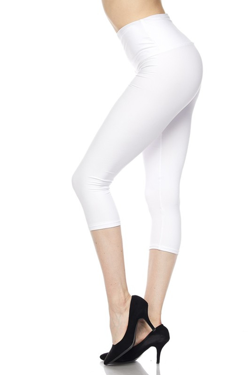 Left side view of white Buttery Soft Basic Solid High Waisted Capris - 5 Inch - New Mix