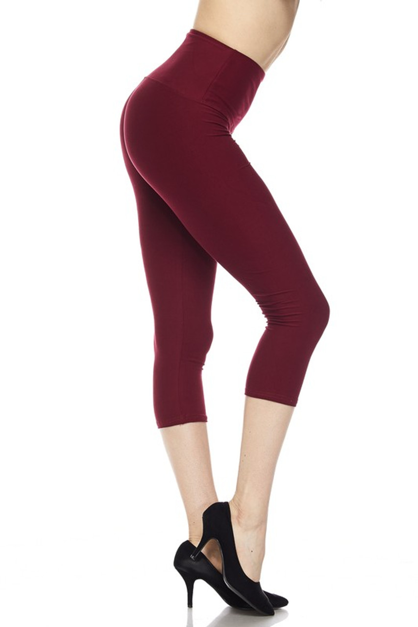 Right side view of burgundy Buttery Soft Basic Solid High Waisted Capris - 5 Inch - New Mix