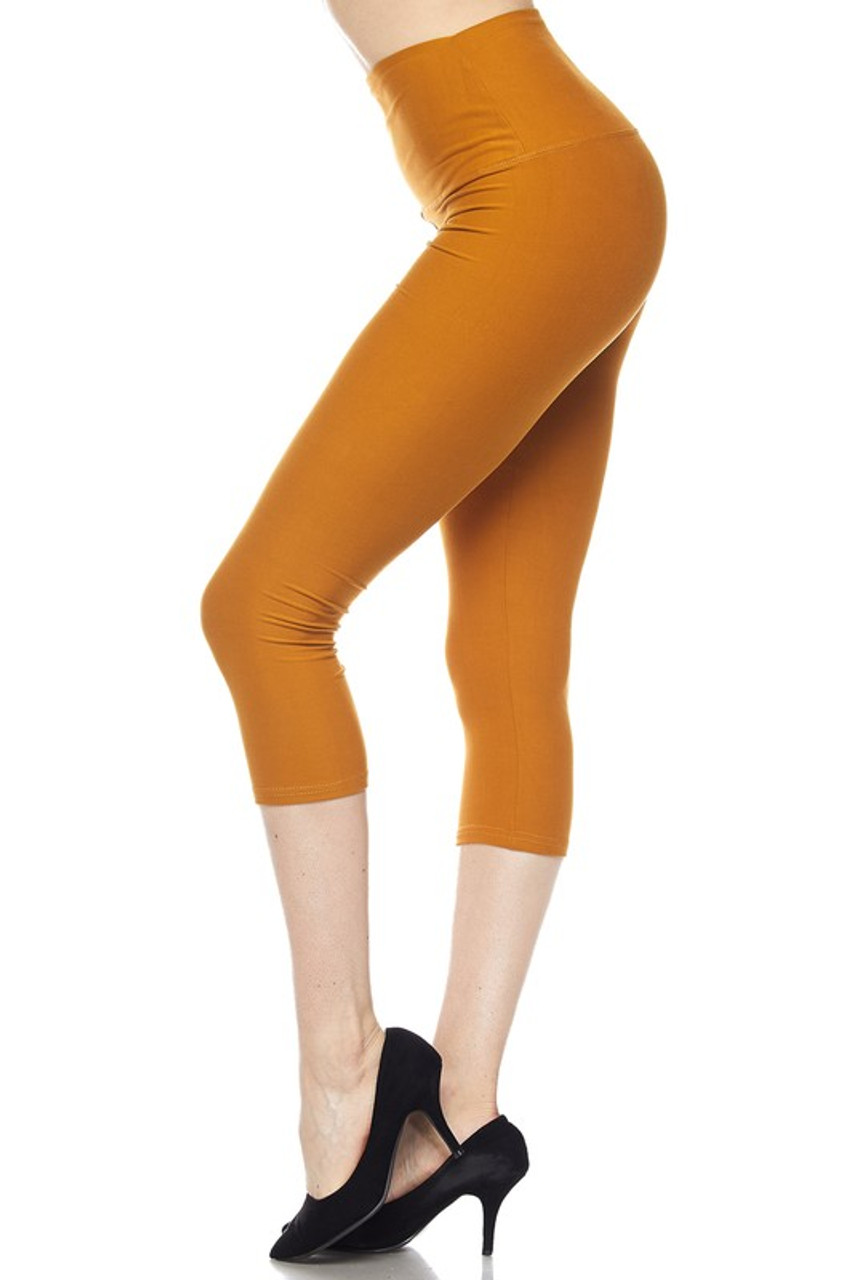 Left side view of mustard Buttery Soft Basic Solid High Waisted Capris - 5 Inch - New Mix