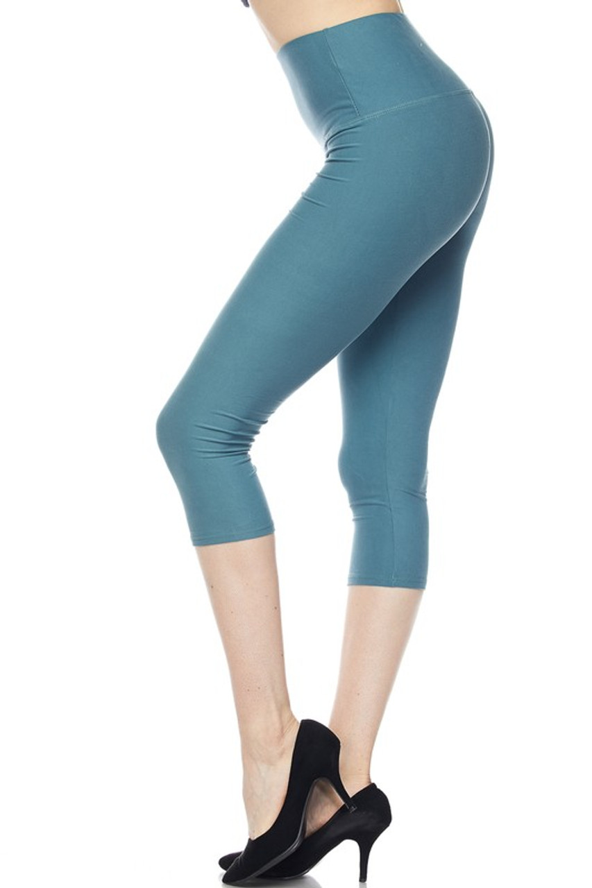 Left side view of teal Buttery Soft Basic Solid High Waisted Capris - 5 Inch - New Mix