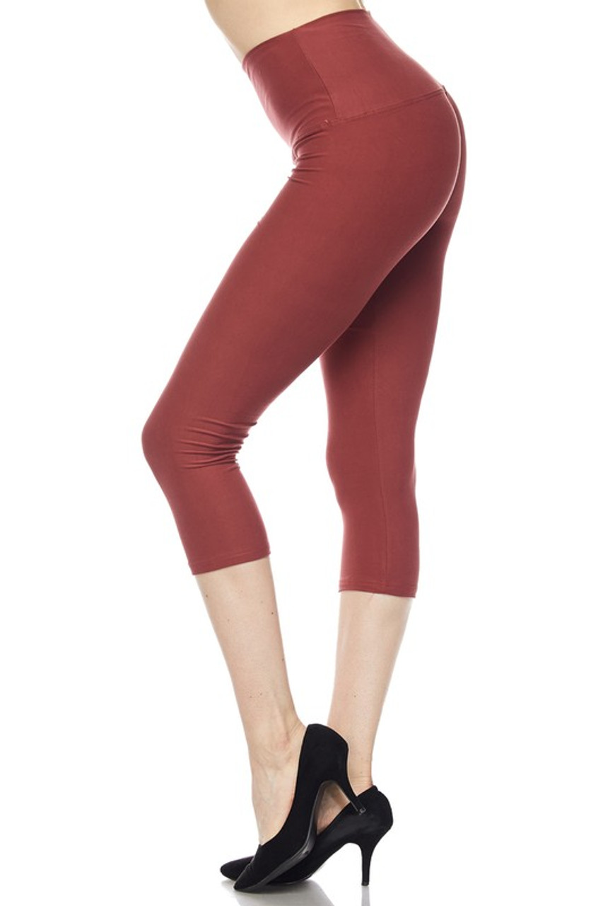 Left side view of Brown Buttery Soft High Waisted Basic Solid Plus Size Capris