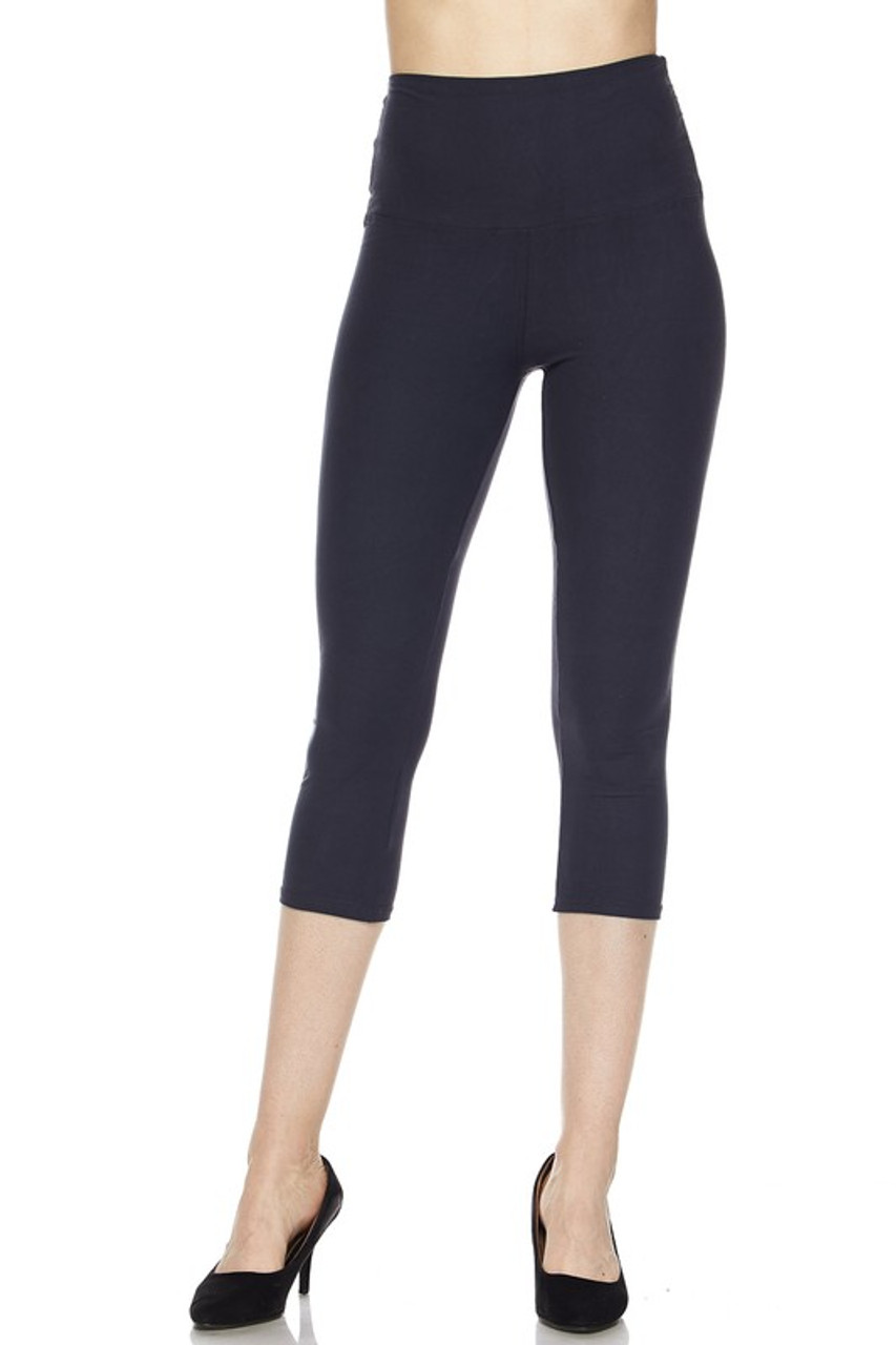 Front view of black Buttery Soft High Waisted Basic Solid Plus Size Capris