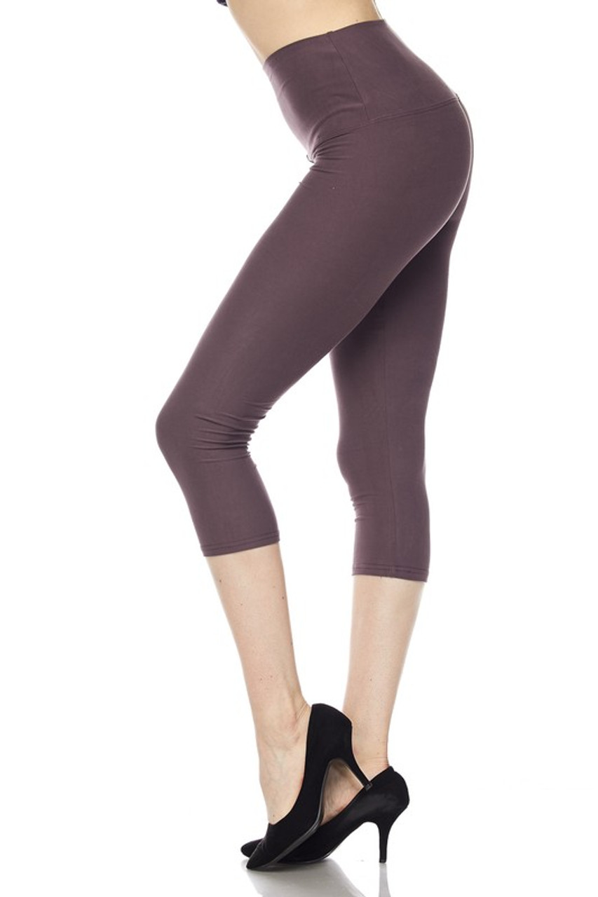 Left side view of mocha Buttery Soft High Waisted Basic Solid Plus Size Capris