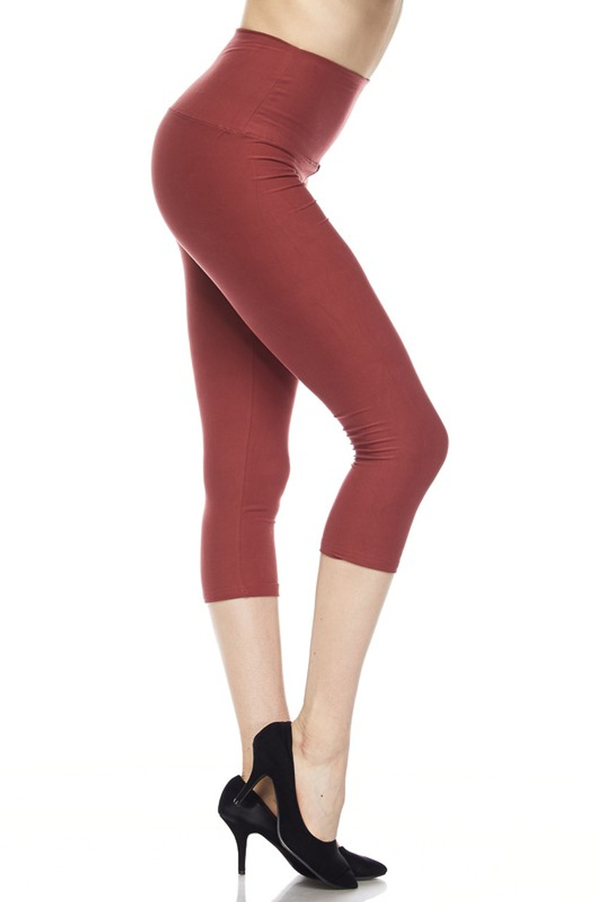 Right side view of brown Buttery Soft High Waisted Basic Solid Plus Size Capris