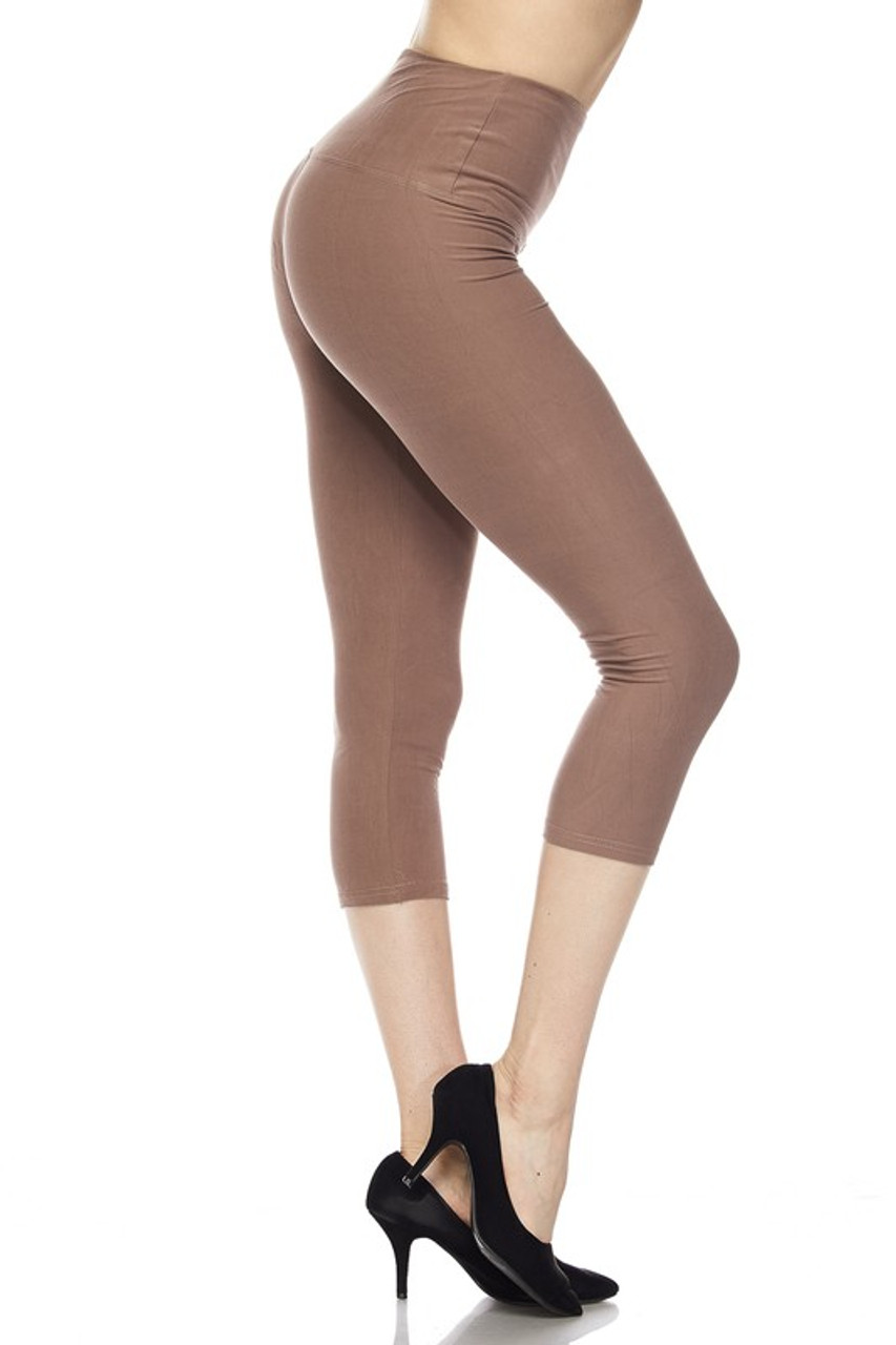 Right side view of mocha Buttery Soft High Waisted Basic Solid Plus Size Capris