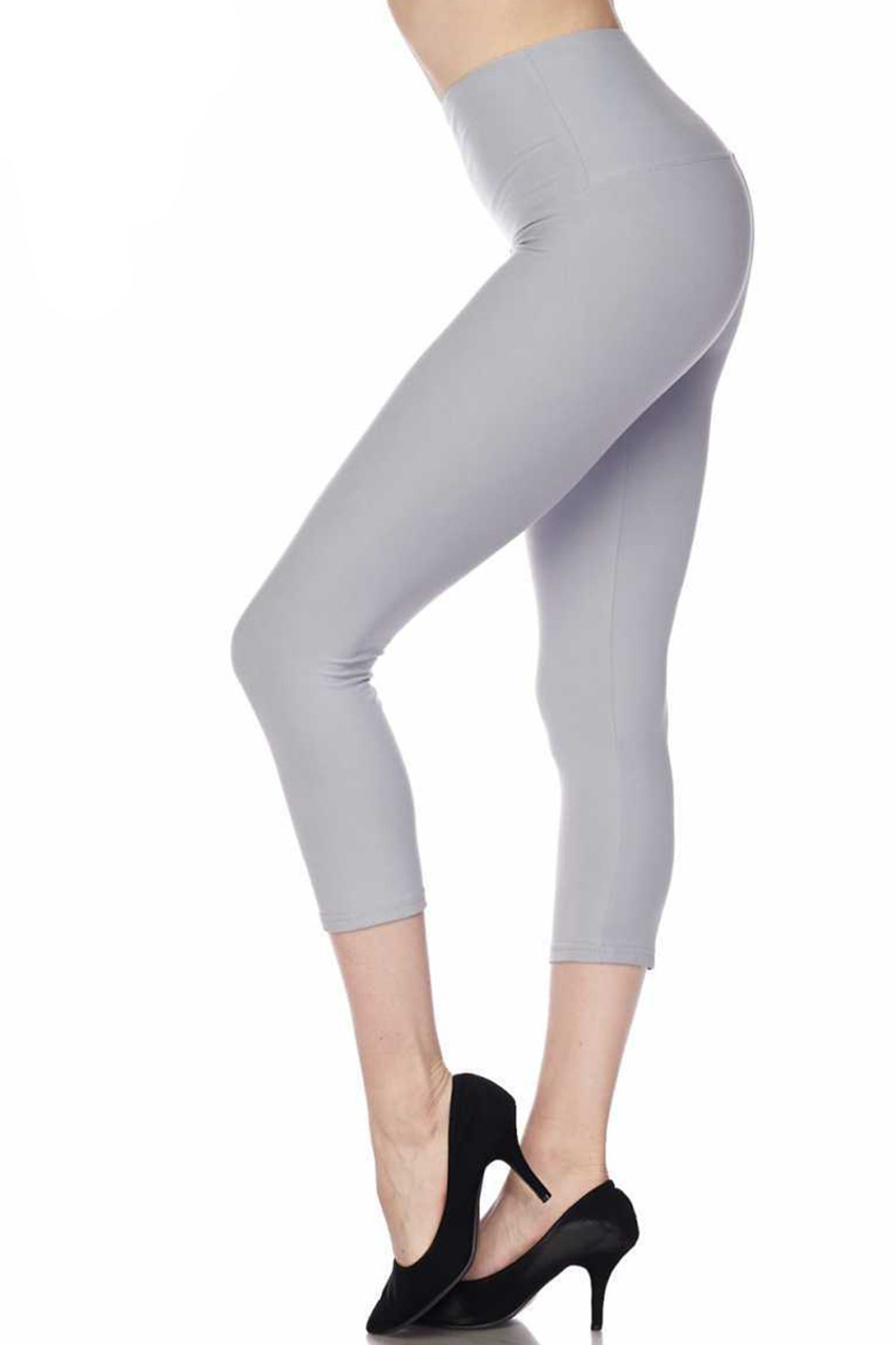 Heather gray Buttery Soft Basic Solid High Waisted Extra Plus Size Capri - 5 Inch - 3X-5X - New Mix