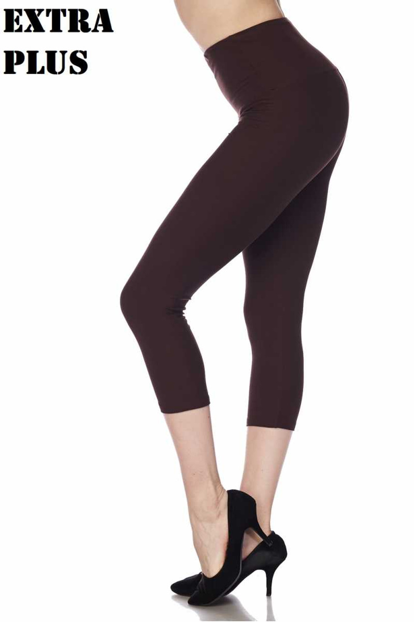 Black Buttery Soft Basic Solid High Waisted Extra Plus Size Capri - 5 Inch - 3X-5X - New Mix
