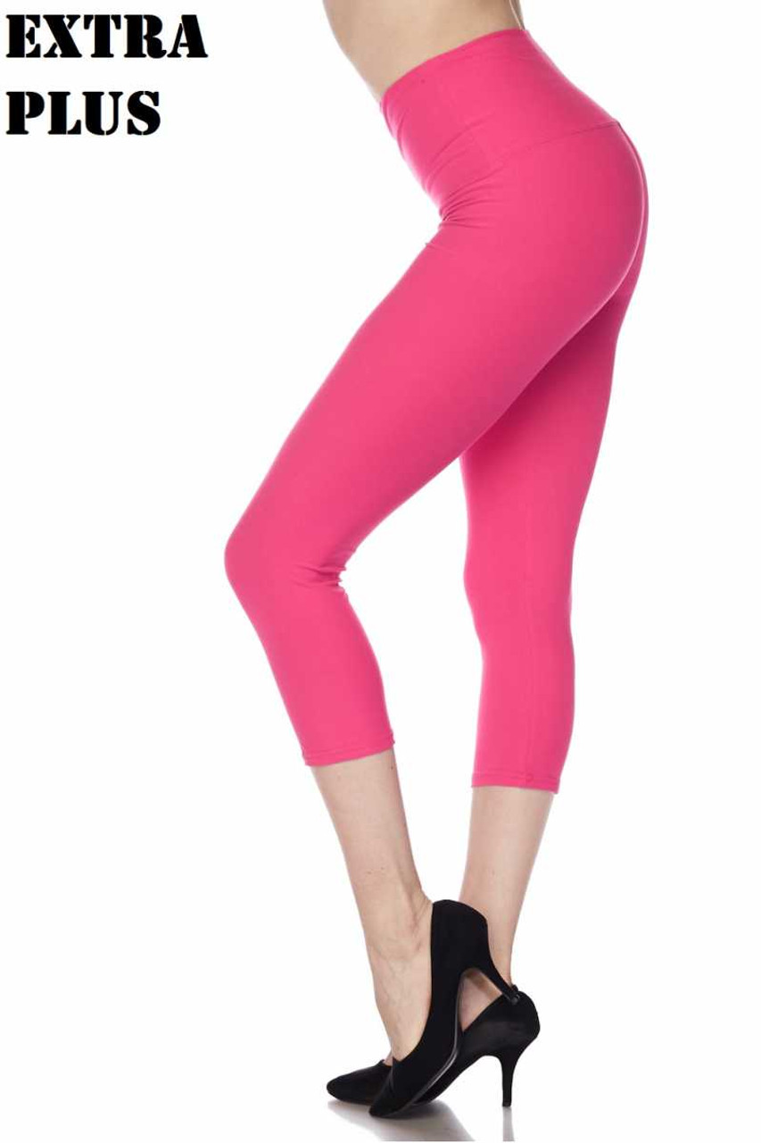 Fuchsia Buttery Soft Basic Solid High Waisted Extra Plus Size Capris - 5 Inch - 3X-5X  - New Mix