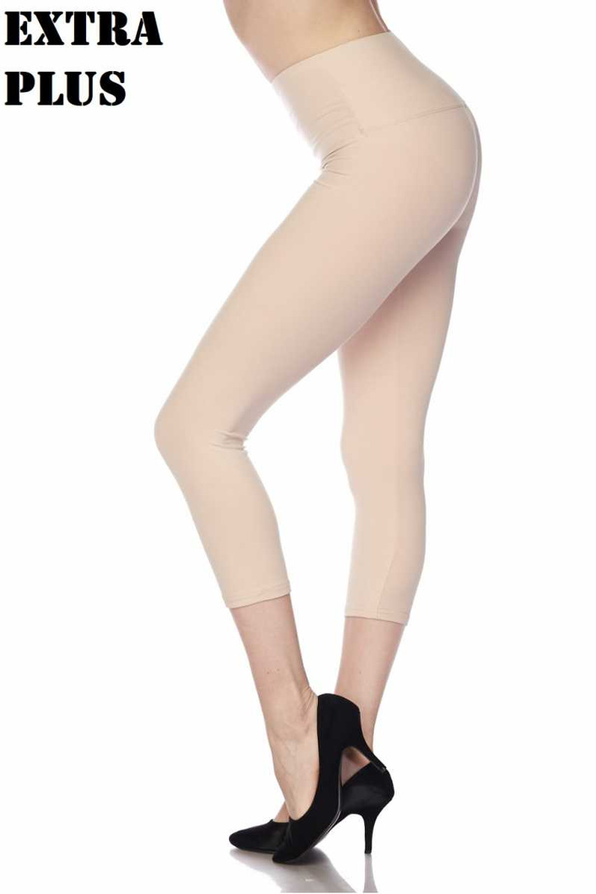 Beige Buttery Soft Basic Solid High Waisted Extra Plus Size Capris - 5 Inch - 3X-5X  - New Mix