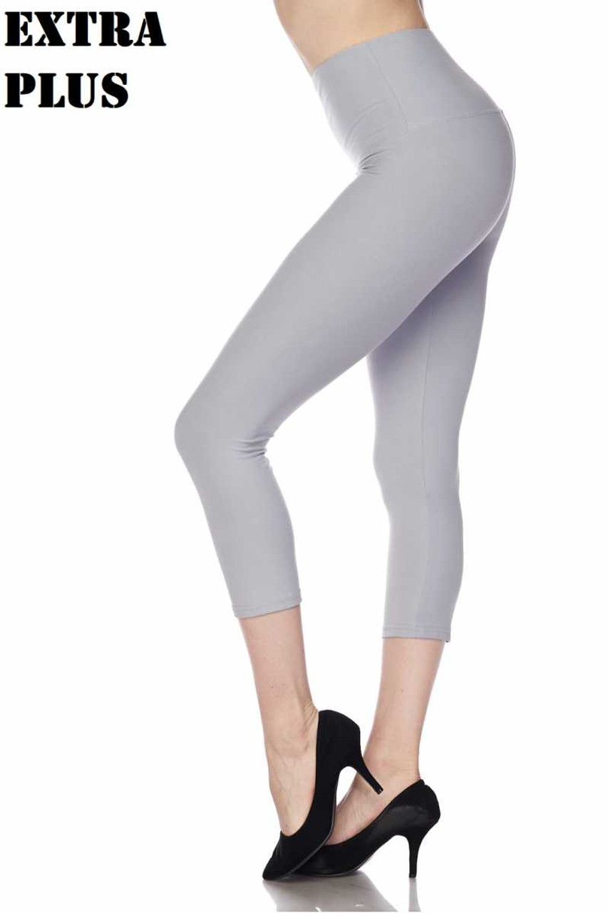 Heather gray Buttery Soft Basic Solid High Waisted Extra Plus Size Capris - 5 Inch - 3X-5X  - New Mix