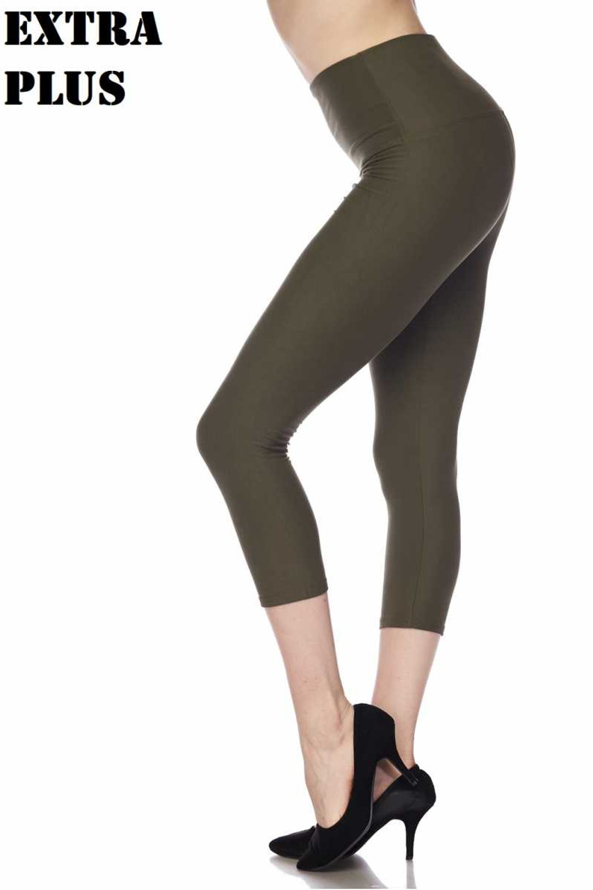 Olive Buttery Soft Basic Solid High Waisted Extra Plus Size Capris - 5 Inch - 3X-5X  - New Mix