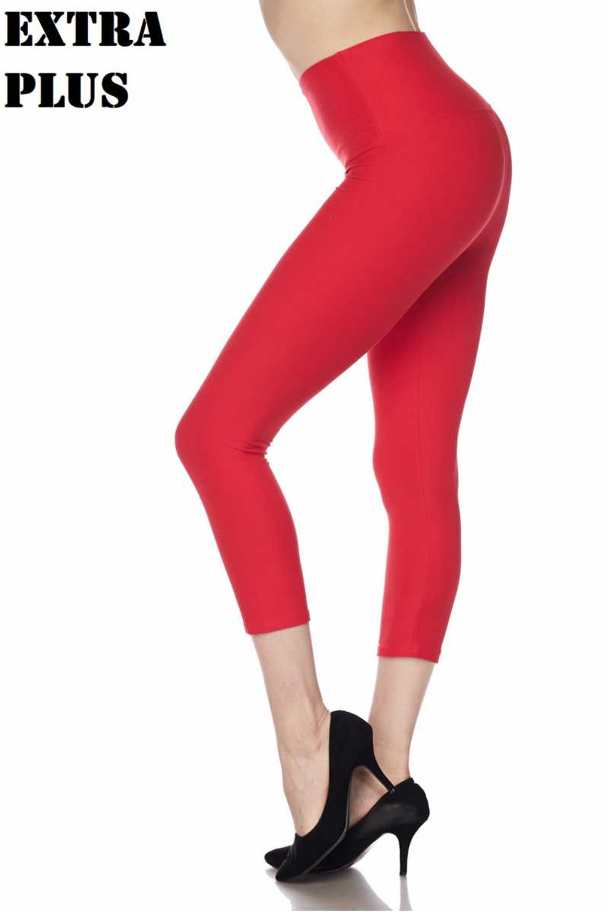 Red Soft Basic Solid High Waisted Extra Plus Size Capris - 5 Inch - 3X-5X  - New Mix