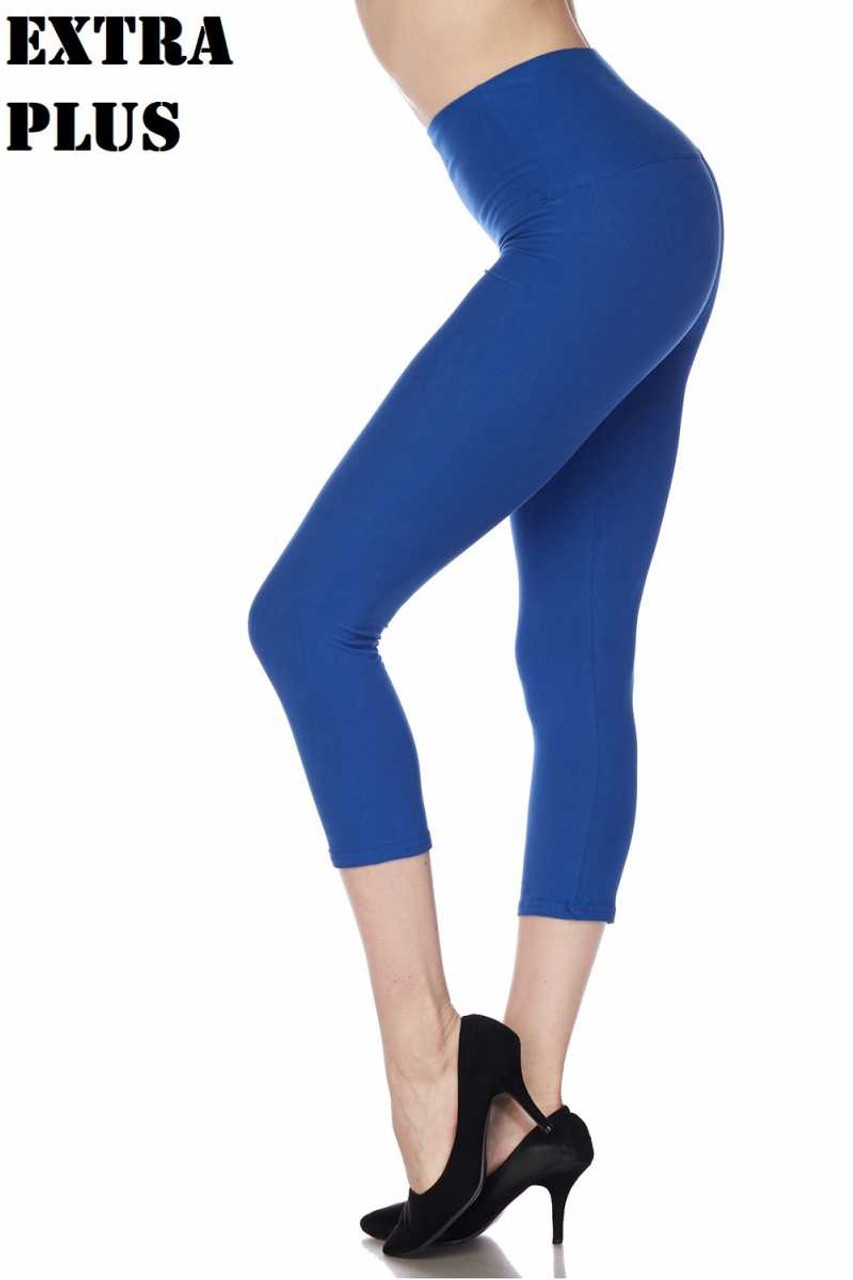 Blue Buttery Soft Basic Solid High Waisted Extra Plus Size Capris - 5 Inch - 3X-5X  - New Mix