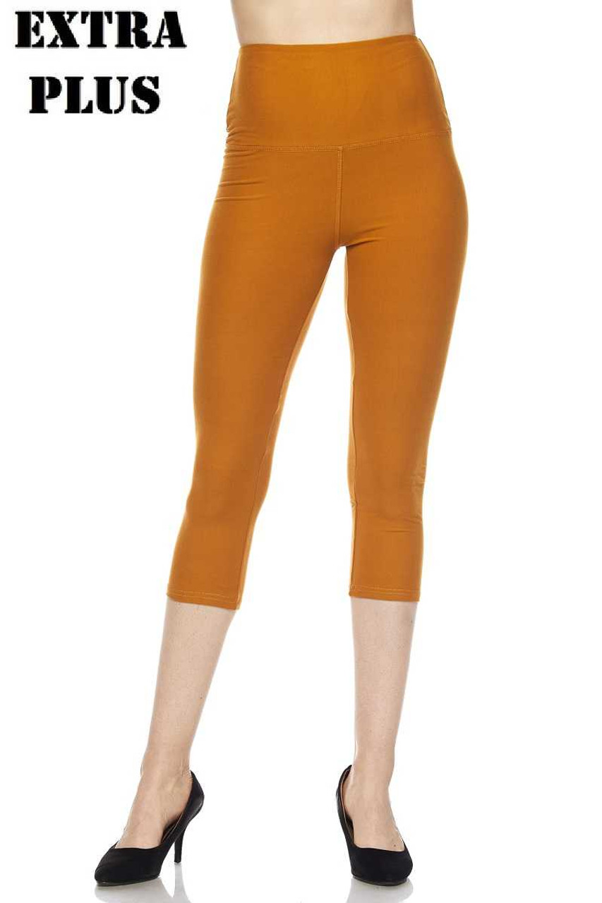 Mustard Buttery Soft Basic Solid High Waisted Extra Plus Size Capris - 5 Inch - 3X-5X  - New Mix