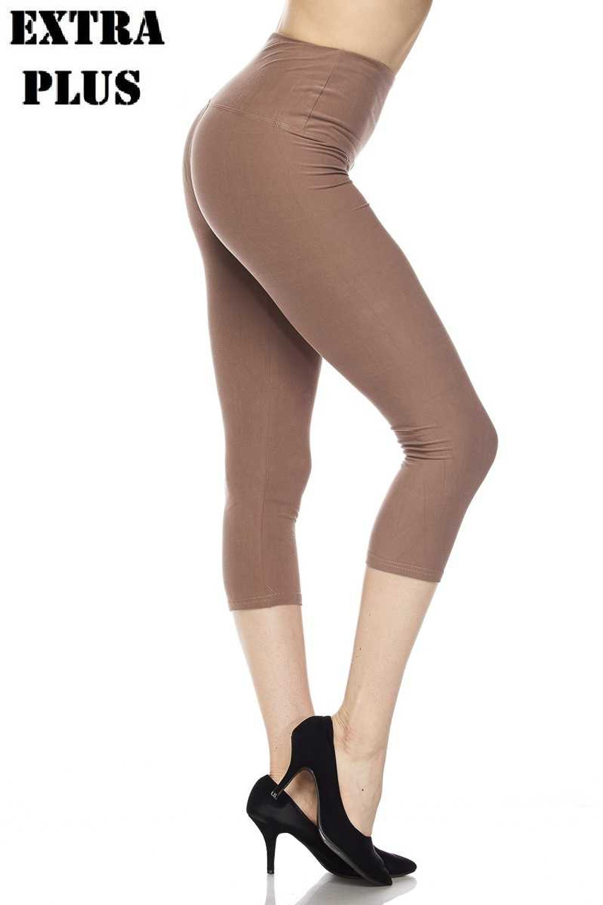 Mocha Buttery Soft Basic Solid High Waisted Extra Plus Size Capris - 5 Inch - 3X-5X  - New Mix