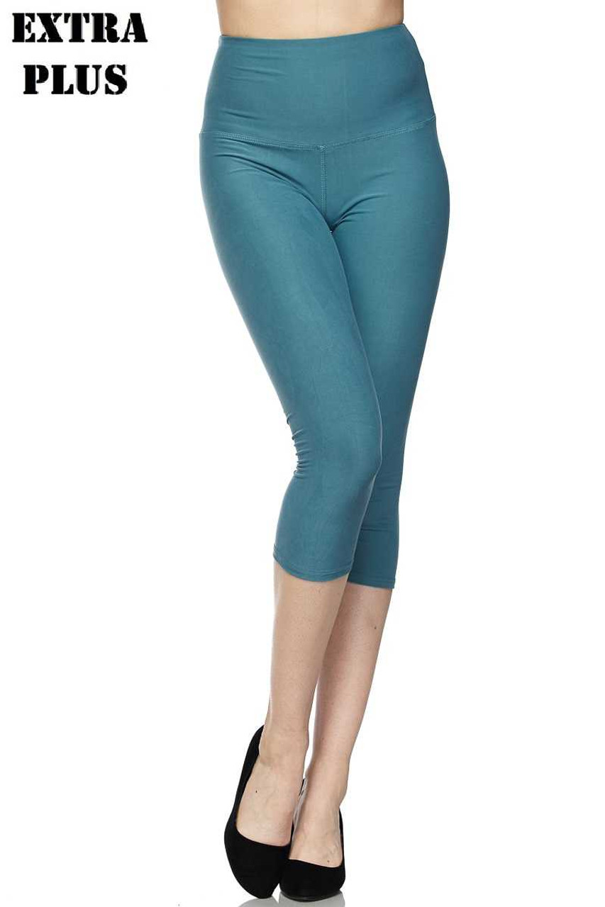 Teal Buttery Soft Basic Solid High Waisted Extra Plus Size Capris - 5 Inch - 3X-5X  - New Mix