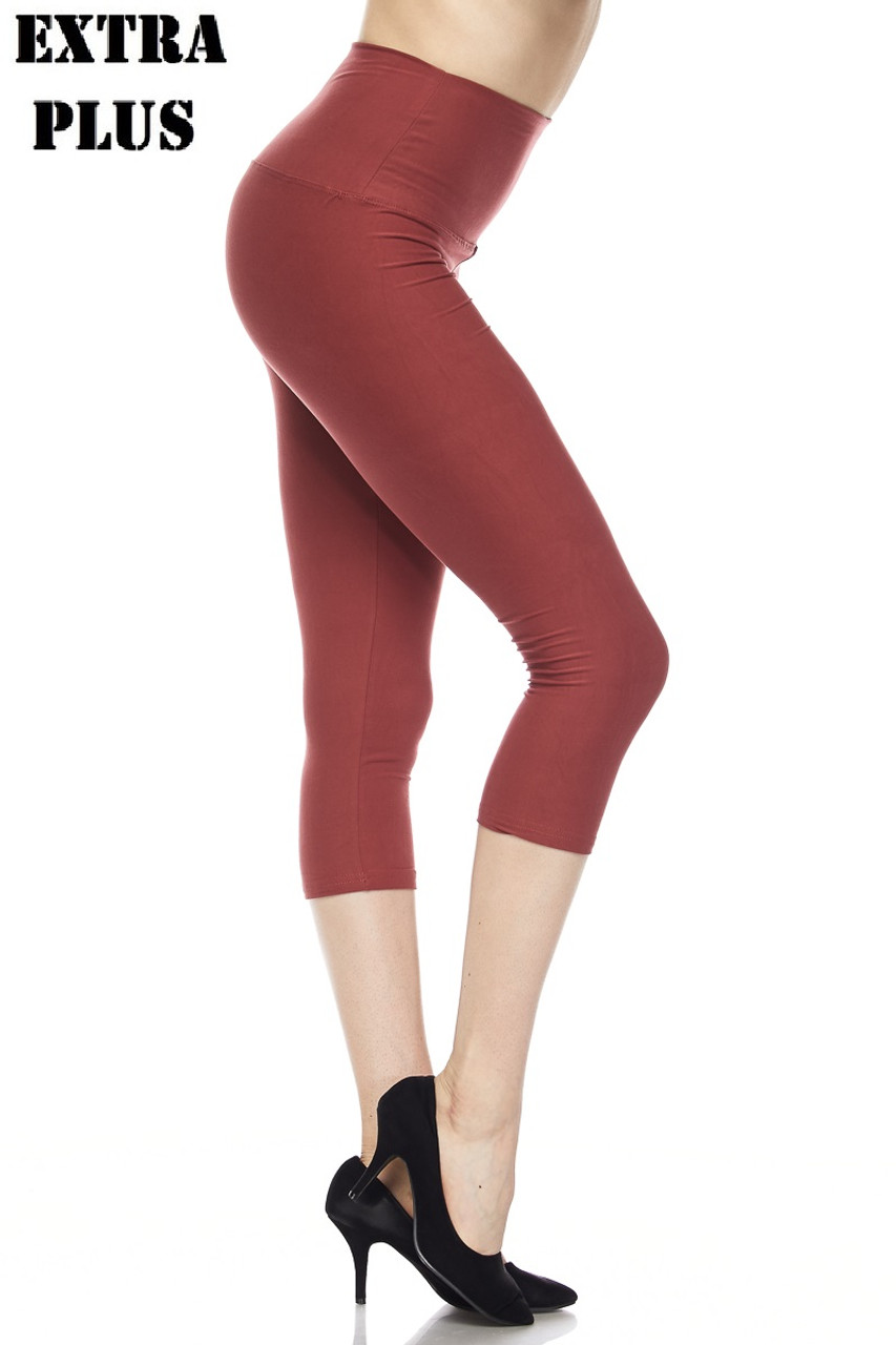 Brown Buttery Soft Basic Solid High Waisted Extra Plus Size Capris - 5 Inch - 3X-5X  - New Mix