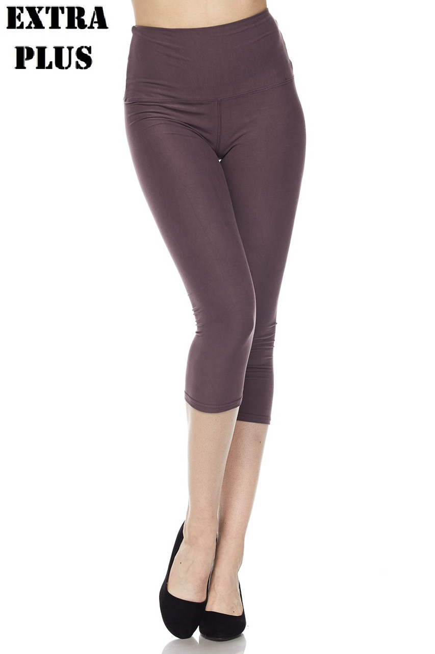 Charcoal Buttery Soft Basic Solid High Waisted Extra Plus Size Capris - 5 Inch - 3X-5X  - New Mix