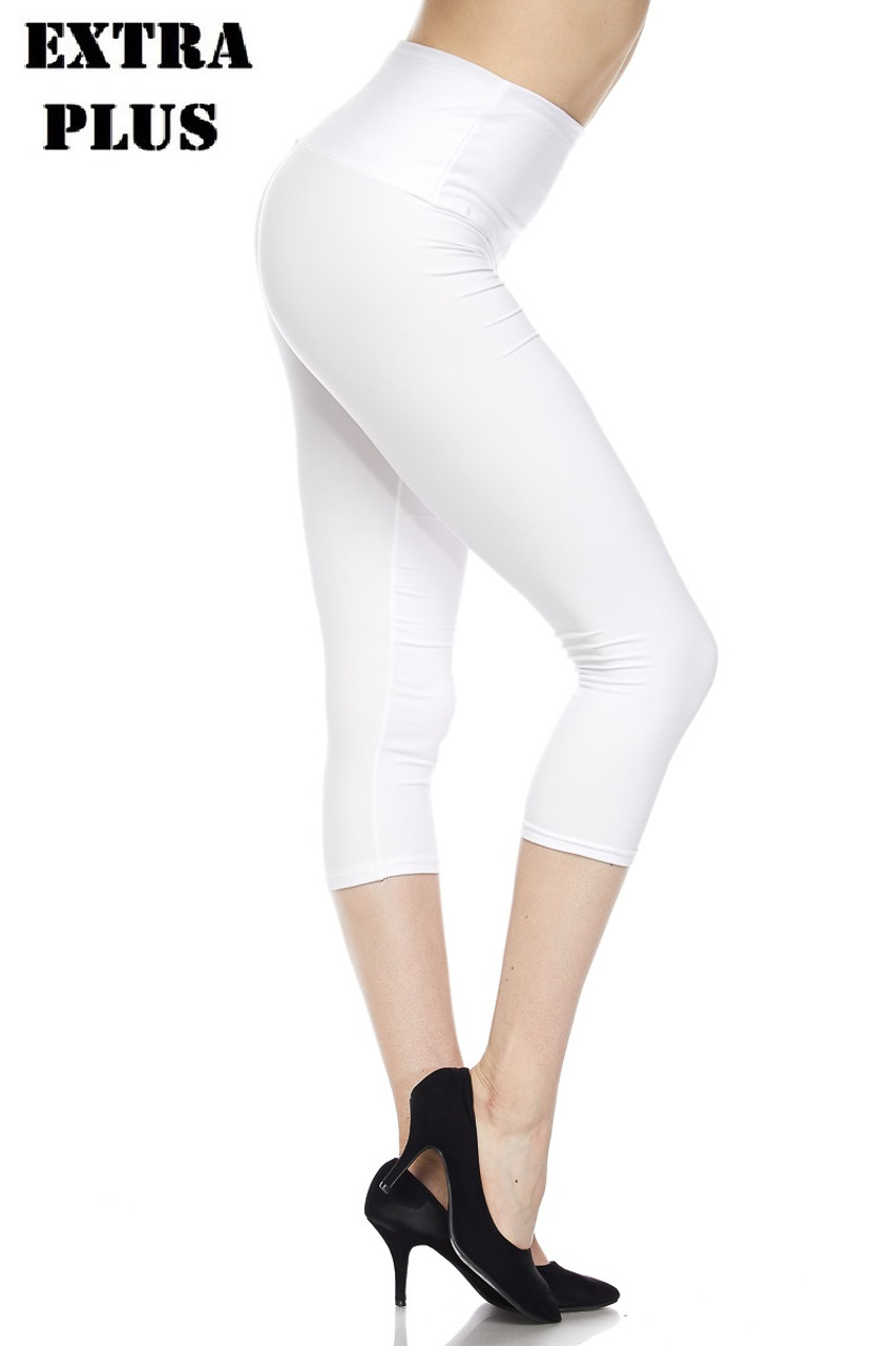 White Buttery Soft High Waisted Plus Size Basic Solid Capris - 5 Inch - 3X-5X