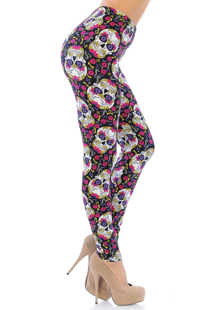 Right side view of our 360 degree decorated Buttery Soft Floral Petal Sugar Skull Leggings.