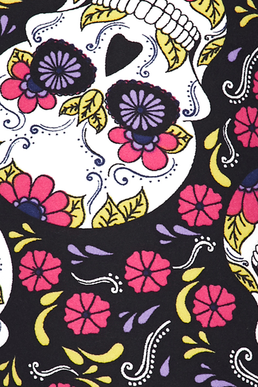 Close up swatch of our Buttery Soft Floral Petal Sugar Skull Leggings.