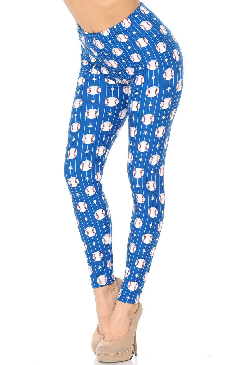 These Buttery Soft Boys of Summer Baseball Leggings feature a vibrant blue background, and are decorated with an all over print of baseballs, white stars, and white stripes.