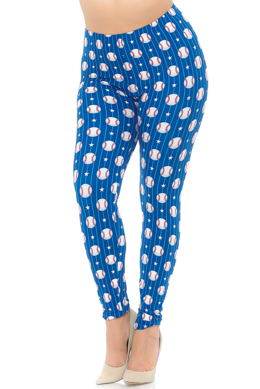 These Buttery Soft Boys of Summer Baseball Extra Plus Size Leggings feature a vibrant blue background, and are decorated with an all over print of baseballs, white stars, and white stripes.