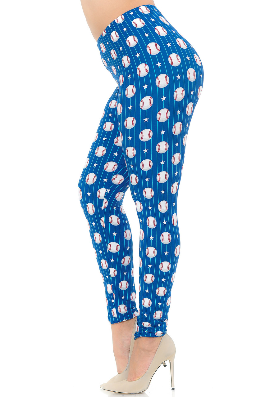 Left side view of Buttery Soft Boys of Summer Baseball Extra Plus Size Leggings