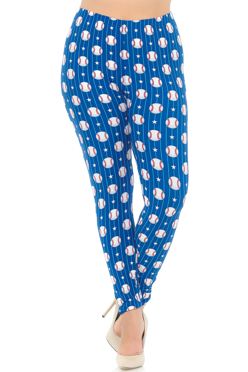 These Buttery Soft Boys of Summer Baseball Extra Plus Size Leggings feature a comfort elastic banded waist that comes up to about mid rise.