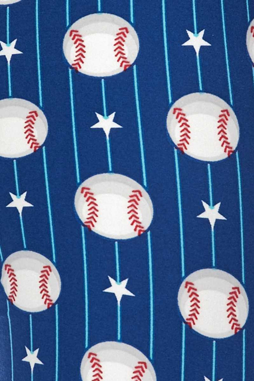 Close up swatch of our Buttery Soft Boys of Summer Baseball Extra Plus Size Leggings