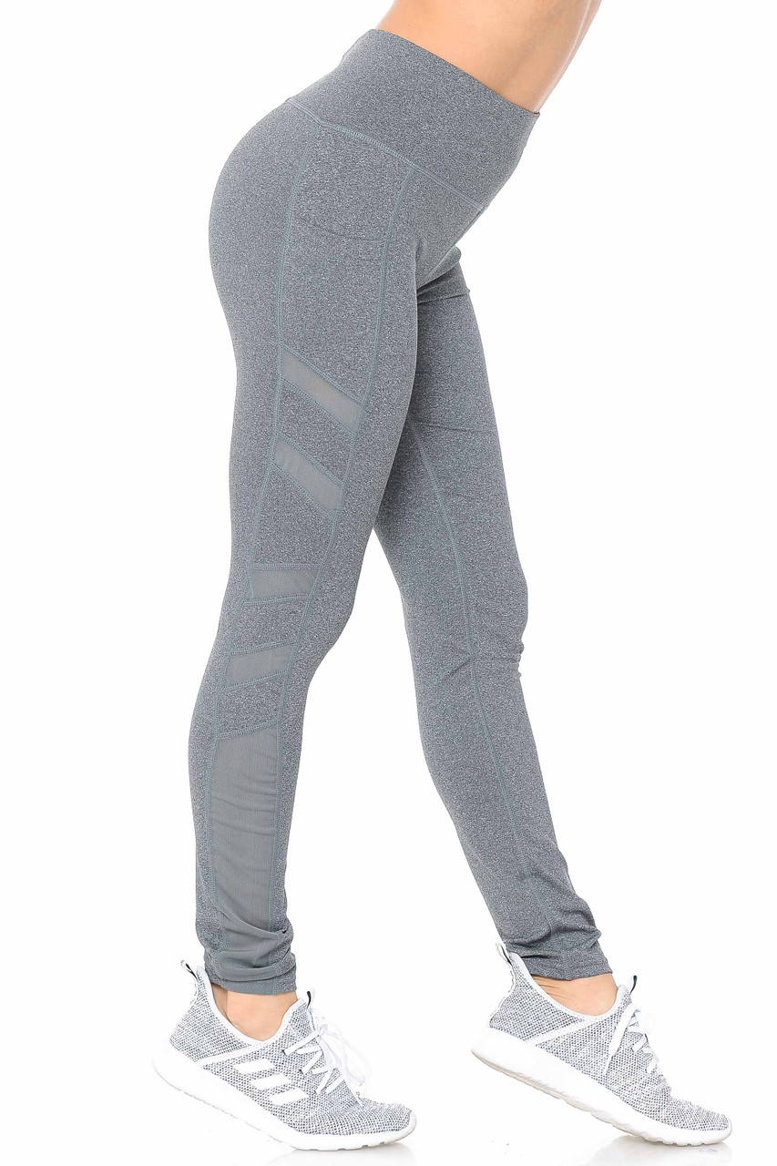 Right side view of heather gray Side Pocket Mesh High Waisted Sport Leggings