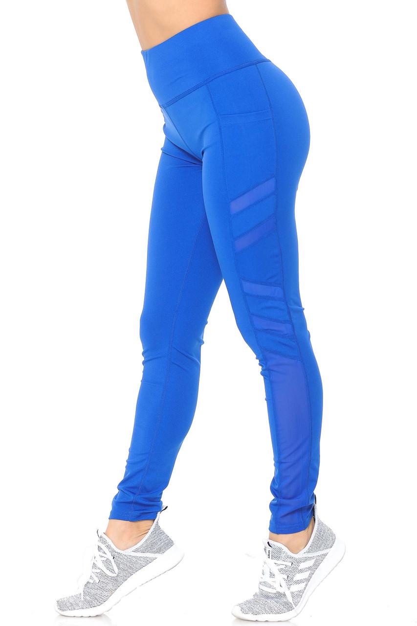Left side view of blue Side Pocket Mesh High Waisted Sport Leggings