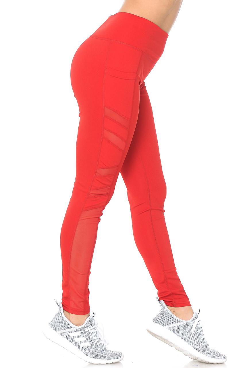 Right side view of red Side Pocket Mesh High Waisted Sport Leggings