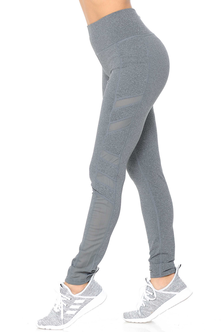 Left side view of heather gray Side Pocket Mesh High Waisted Sport Leggings